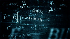 Green blue Physics and Mathematics formulas flying though. Stock Footage