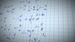 Physic math formulas written by blue pen on notebook page. Stock Footage