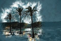 View of the beach of Port de Soller Stock Illustration