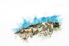 Capdepera castle on green hill in Mallorca Stock Illustration