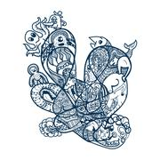 Abstract line art with animal for coloring Stock Illustration
