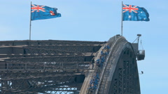 4k video of tourists climbing up the Sydney Harbour Bridge Stock Footage