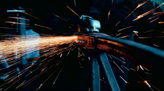 Metal Grinding Machine With Sparks Stock Footage