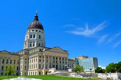 Kansas State Capitol Building on a Sunny Day Stock Photos