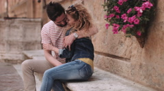 Young couple having holiday romance Stock Footage