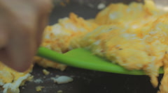 Scrambled Eggs Cooking Pan Extreme Closeup Macro Stock Footage