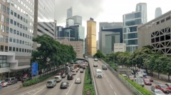 Time lapse traffic scene Hong Kong, rush hour cityscape. Extreme long shot. Stock Footage