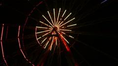 Ferris Wheel Lights at Night Stock Footage