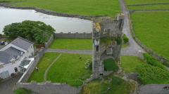 Aerial view of Muckinish Tower, Co. Clare Stock Footage