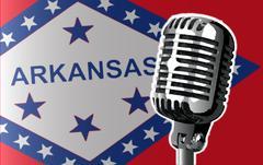 Arkansas Flag And Microphone Stock Illustration