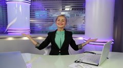 Young and beautiful a girl throws leaves in a news TV Studio. Stock Footage