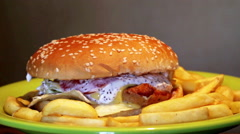 The Burger and fries Stock Footage