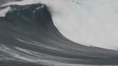 4K: Big Wave Breaking in Slow Motion With White Foam Stock Footage