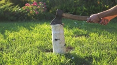 Chopping wood with an ax on the lawn Stock Footage