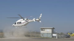 Helicopter take off small airfield 4K Stock Footage