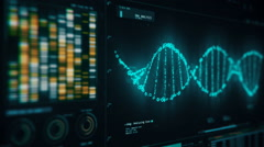 DNA chain rotating on screen, forensic analysis of structure, genetic research Stock Footage