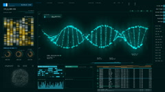 Blue DNA strand rotating on screen, forensic DNA analysis, genetic engineering Stock Footage