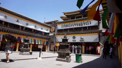 tourists in  Ta'er Monastery - stock footage