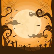 Halloween night background in graveyard Stock Illustration