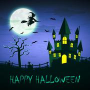 Witch flying on a magic broomstick over the spooky haunted castle Stock Illustration