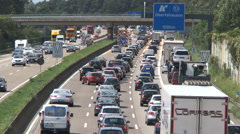 Traffic jam construction site highway Stock Footage