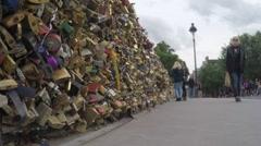 Bridge with Lots of Locks Paris Stock Footage