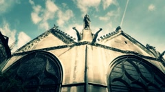 Old Gothic Church Top Cloud Time Lapse Stock Footage