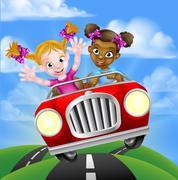 Cartoon Girl Children Driving Car Stock Illustration