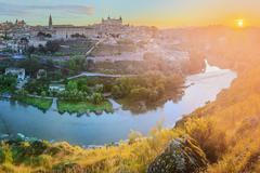 Alcazar on a hill over the Tagus River, Toledo Stock Photos