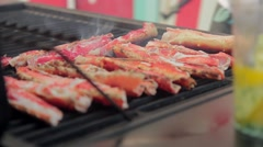 Delicious grilled seafood: Red crab Stock Footage