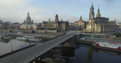 Aerial camera moves away from Katholische Hofkirche Dresden Stock Footage