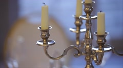 Silver classic candlestick Stock Footage