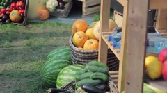 Fruit stand on a street in summer. Stock Footage