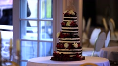 Wedding cake decoraited with berries Stock Footage