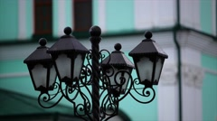 Vintage street lamp green background Stock Footage