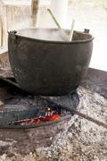 Cauldron On Fire - Traditional Food Preparation Stock Photos