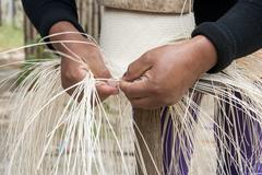 Manual Hat Weaving Process Stock Photos