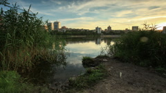 Sunset on the river Kalmius. Donetsk, Full HD Stock Footage