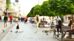 Slow motion .Unknown people on European city street. Blurred scene  Stock Footage