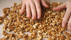 Walnut Kernels On The Table Stock Footage