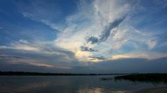 Sunset over the Tsimlyansk reservoir. Volgodonsk, Rostov region, Russia, Full HD Stock Footage