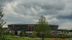Cloudy sky over the stadium Donbass Arena July 2016 in Donetsk. Full HD - stock footage