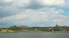 Movement of clouds on the river Kalmius. Donetsk, Full HD Stock Footage