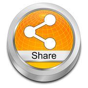 Share Button - 3D illustration - stock illustration