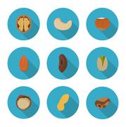 Flat icons nuts Stock Illustration