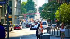 Traffic Große Gallusstrasse crosswalk zebra cross Frankfurt am Main Germany Stock Footage