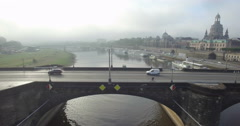 Aerial camera tracks sideways along Augustusbruke in Dresden Stock Footage