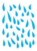 Blue rain, tears falling down  vector symbol icon design. Beautiful illustrat Stock Illustration