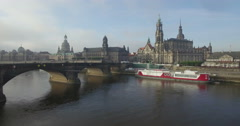 Camera rises over Elbe to show Zwinger in Dresden Stock Footage