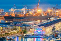Genoa. Seaport night Stock Photos